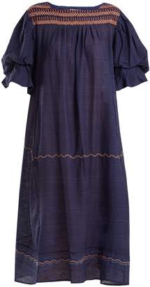 Thierry Colson Cretan embroidered puff-sleeve cotton dress