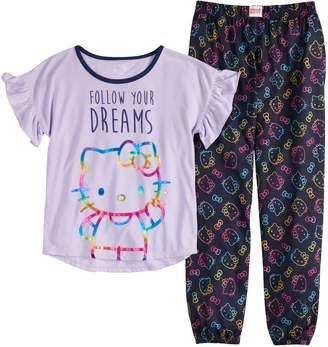 36012b865 Hello Kitty Girls 4-16 Top & Bottoms Pajama Set