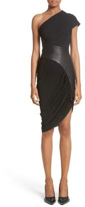 Alexander Wang Leather Detail Draped One-Shoulder Dress
