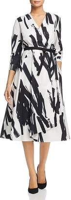 Max Mara Cartone Brushstroke-Print Wrap Dress