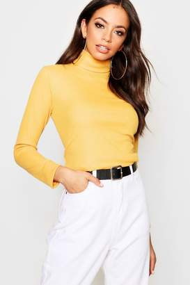 boohoo Roll Neck Rib Knit Top