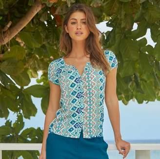 Aspiga Lisbon Short Sleeved Blouse Rio Turquoise Print