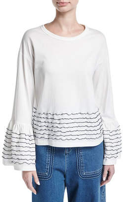 See by Chloe Ruffle-Trim Long-Sleeve Cotton Top