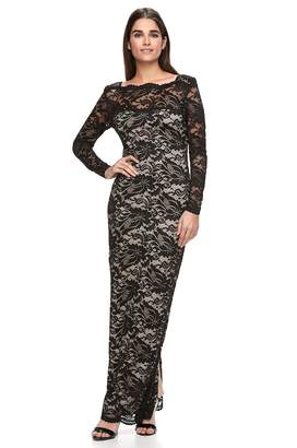 Onyx Nite Women's Illusion Lace Evening Gown