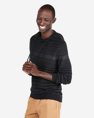 Express Textured Stripe Hooded Popover Sweater