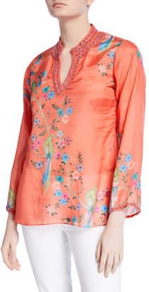Bella Tu Avery Printed Long-Sleeve Embellished V-Neck Tunic