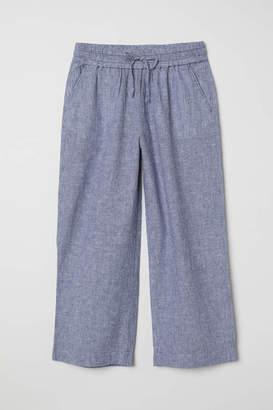 H&M Linen-blend Culottes - Blue/white striped - Women
