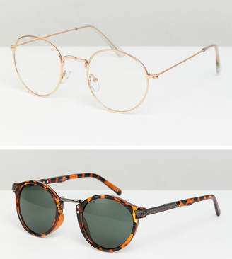 Asos DESIGN round sunglasses 2pk in gold & tort SAVE