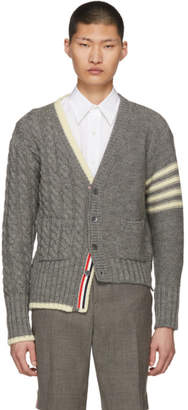 Thom Browne Grey Half and Half Cardigan
