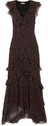 Michael Kors Ruffled Floral-print Silk-georgette Gown - Black