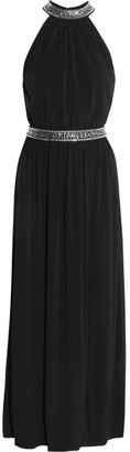 MICHAEL Michael Kors - Embellished Stretch-satin Gown - Black $205 thestylecure.com