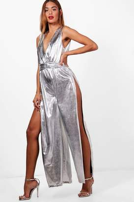 boohoo Metallic Wide Leg Split Jumpsuit