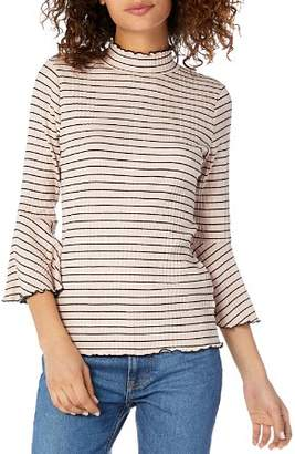 Michael Stars Striped Mock-Neck Top