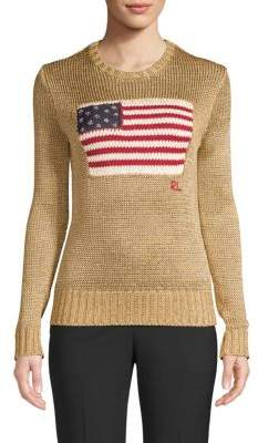 Polo Ralph Lauren Metallic American Flag Knit Sweater