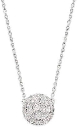 Macy's Diamond Cluster Disc Pendant Necklace (1/5 ct. t.w.) in Sterling Silver