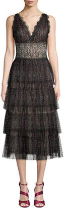 Catherine Deane Lala Midi Dress w/ Tiered Tulle Skirt