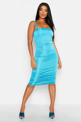 boohoo Ruched Side Bodycon Midi Dress