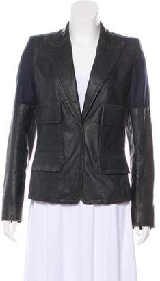Kaufman Franco KAUFMANFRANCO Leather-Paneled Wool Blazer