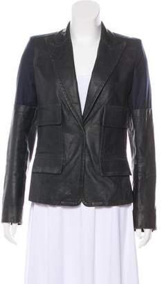 Kaufman Franco KAUFMANFRANCO Leather-Paneled Wool Blazer