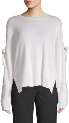BCBGMAXAZRIA Tie-Sleeve Cold-Shoulder Sweater