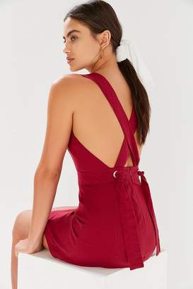 Urban Outfitters Lynn Linen Apron Cross-Back Dress