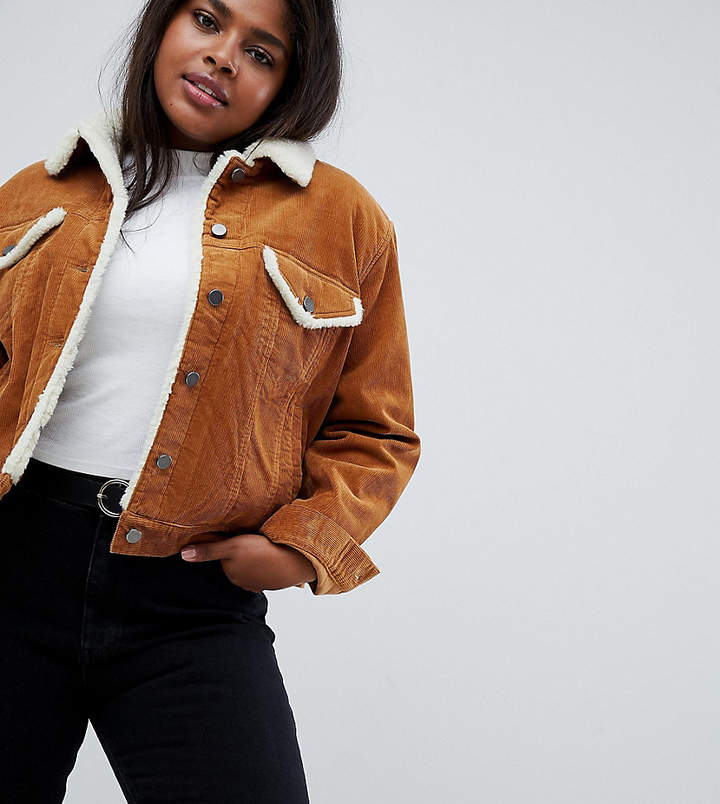 ASOS Curve ASOS DESIGN Curve cord jacket with fleece collar in rust brown