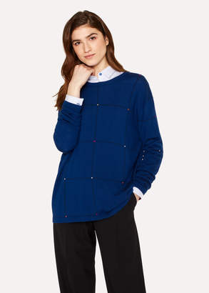 Paul Smith Women's Blue Merino Wool Checked Sweater