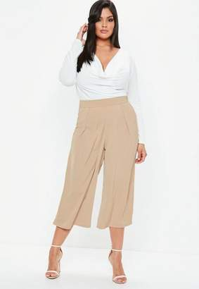 Missguided Plus Size Nude Crepe Wide Leg Culottes Trousers, Nude