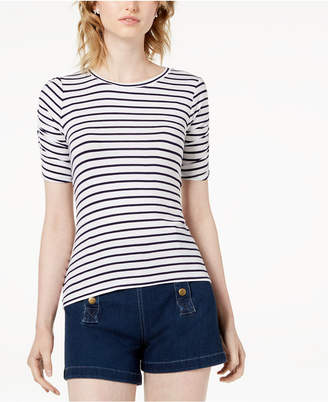 Maison Jules Striped Ruched-Sleeve T-Shirt