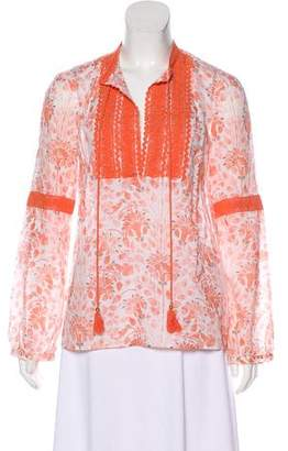 Tory Burch Floral Print Long Sleeve Top