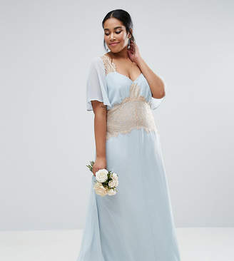 Asos WEDDING Contrast Lace Panel Maxi Dress