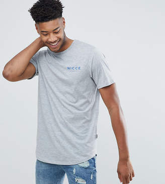 Nicce London tall t-shirt in gray with chest logo exclusive to asos