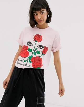 Chinatown Market boyfriend t-shirt with romantic rose graphic