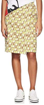 Prada Women's Square-Print Cotton Wrap-Front Skirt