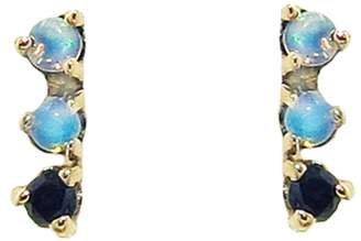 WWAKE Three-Step Opal and Black Diamond Stud Earrings