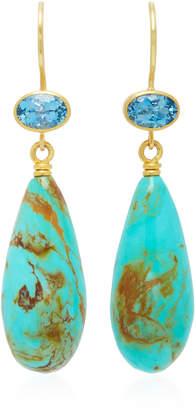 "Mallary Marks Apple & Eve 18K Gold"" Aquamarine and Turquoise Earrings"