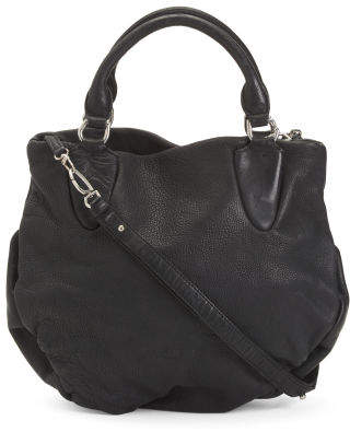 Sima Washed Leather Top Handle Bag