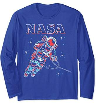 NASA Neon Astronaut Cowboy In Space Graphic Long Sleeve Tee