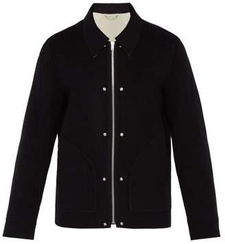 Helmut Lang Logo Zip Wool Jacket - Mens - Black Beige