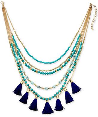 "INC International Concepts I.N.C. Gold-Tone Bead & Tassel Multi-Layer Necklace, 16"" + 3"" extender, Created for Macy's"