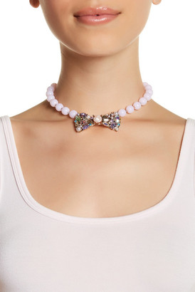 Betsey Johnson Embellished Bow Collar Glass Beaded Necklace $58 thestylecure.com