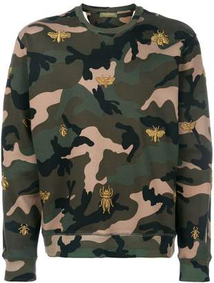 Valentino camouflage sweatshirt with insect embroidery