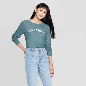 Grayson Threads Women's Grateful Long Sleeve Graphic T-Shirt (Juniors') - Green