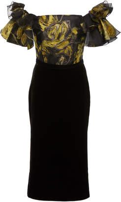Marchesa Off-Shoulder Jacquard Tea Length Cocktail Dress