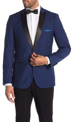 Paisley & Gray Grosvenor Blue One Button Peak Lapel Slim Fit Tuxedo Jacket