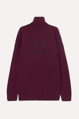Balenciaga Embroidered Wool And Cashmere-blend Turtleneck Sweater - Claret