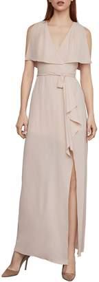 BCBGMAXAZRIA Slit-Sleeve Overlay Semi-Sheer Georgette Evening Gown