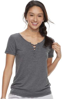 So Juniors' SO Short Sleeve Lace-Up Tee