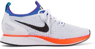 Nike - Air Zoom Mariah Leather-trimmed Flyknit Sneakers - White $150 thestylecure.com