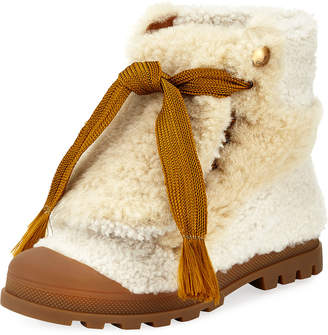 Chloé Parker Shearling Fur Lace-Up Ankle Boot